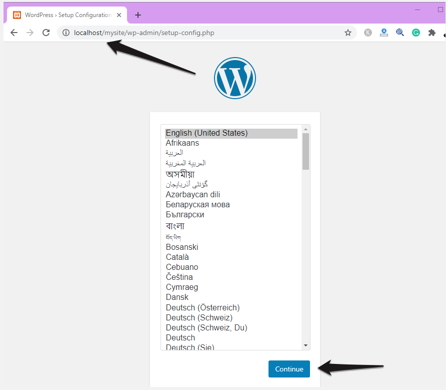 Select the language for your WordPress localhost Installation.