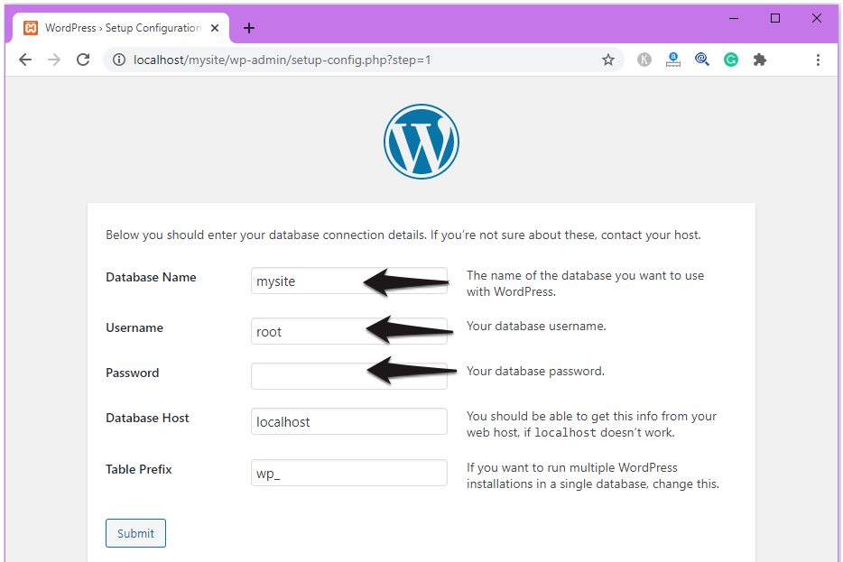 select the database name and password to install WordPress.