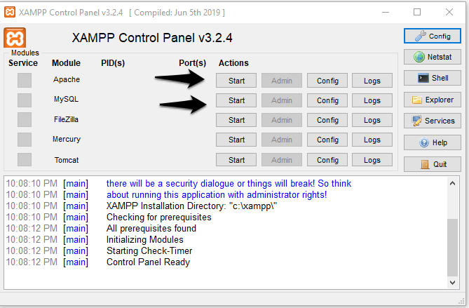Run the Xampp control panel and activate the Apache and MySQL to set up the environment to install WordPress localhost.